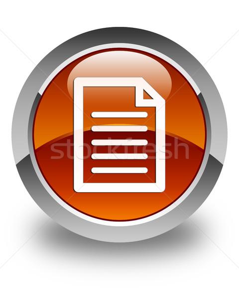 Sayfa ikon parlak kahverengi düğme web Stok fotoğraf © faysalfarhan