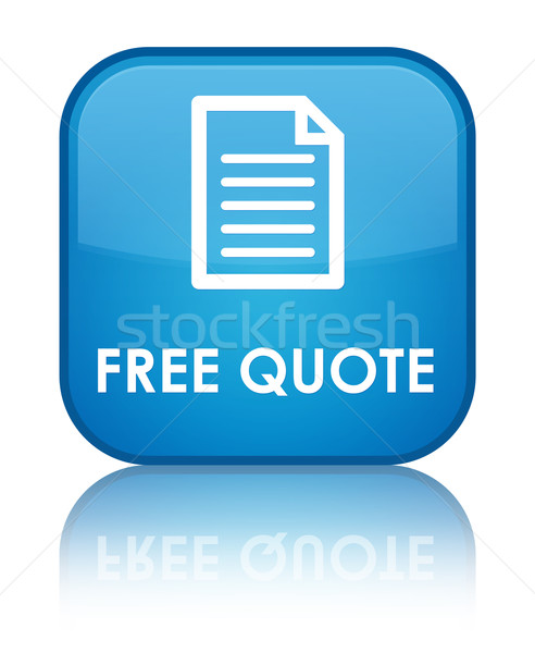 Stock photo: Free quote glossy blue reflected square button