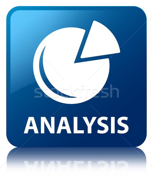 Analysis (graph icon) glossy blue reflected square button Stock photo © faysalfarhan