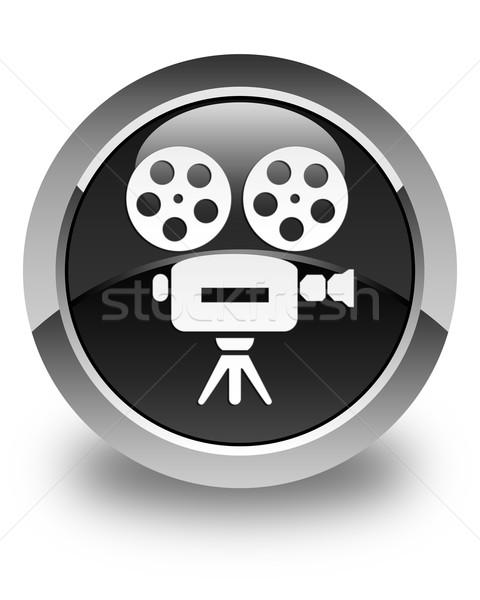 Videókamera ikon fényes fekete gomb felirat Stock fotó © faysalfarhan