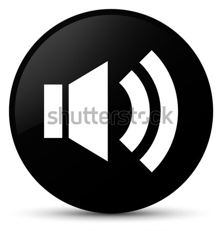 Volume icon glossy black round button Stock photo © faysalfarhan