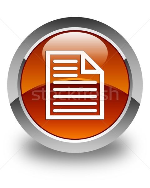 Document page icon glossy brown round button Stock photo © faysalfarhan