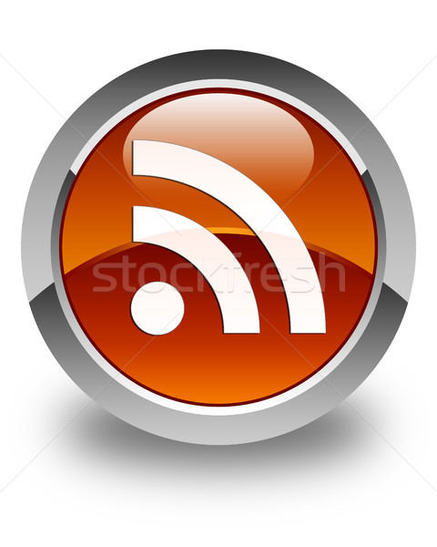 Rss icon glanzend bruin knop internet Stockfoto © faysalfarhan