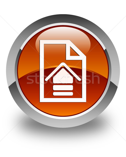 Upload document icon glossy brown round button Stock photo © faysalfarhan