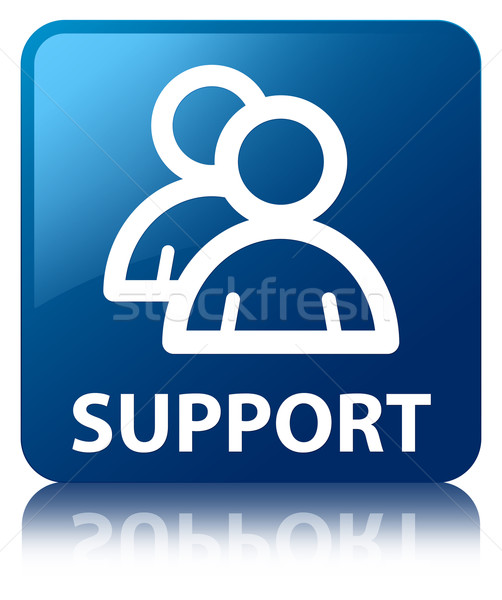 Support (group icon) glossy blue reflected square button Stock photo © faysalfarhan