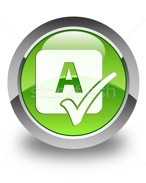 Spell check icon glossy green round button Stock photo © faysalfarhan