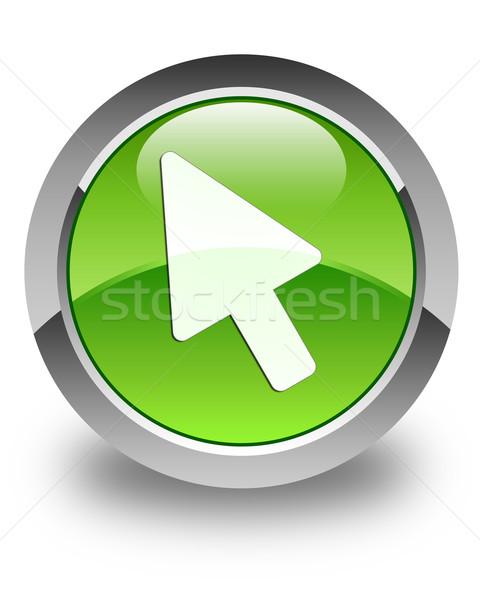 Kurzor ikon fényes zöld gomb felirat Stock fotó © faysalfarhan