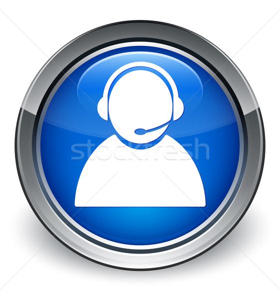 Customer care icon glossy blue button Stock photo © faysalfarhan