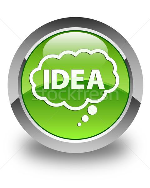 Idea talk bubble icon glossy green round button Stock photo © faysalfarhan