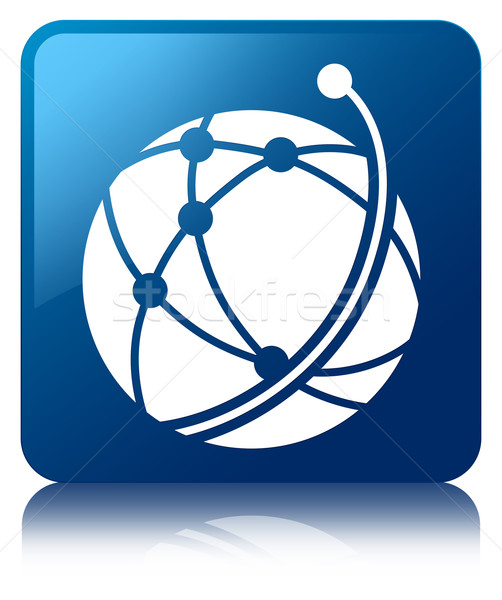 Global network icon glossy blue reflected square button Stock photo © faysalfarhan