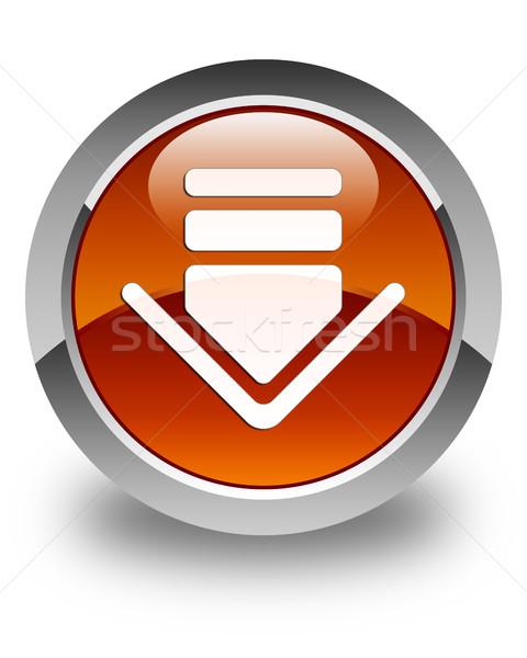 Simgesi indir parlak kahverengi düğme web beyaz Stok fotoğraf © faysalfarhan