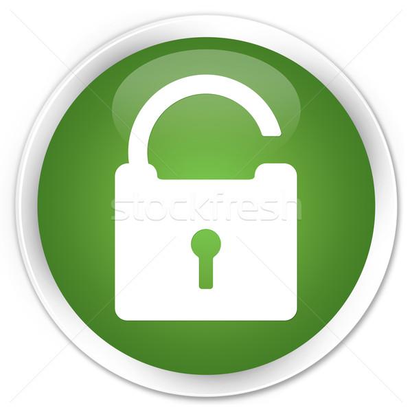 Unlock icon green button Stock photo © faysalfarhan