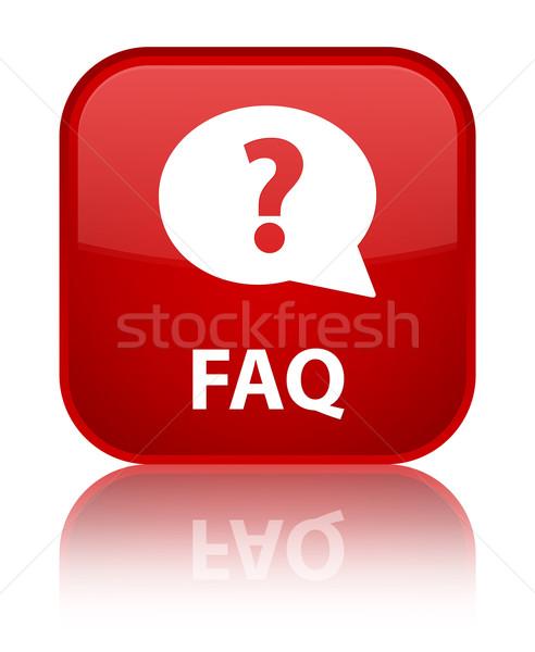 FAQ glossy red reflected square button Stock photo © faysalfarhan