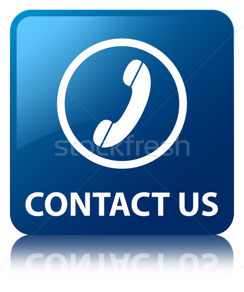 Stock photo: Contact Us (phone icon) glossy blue reflected square button