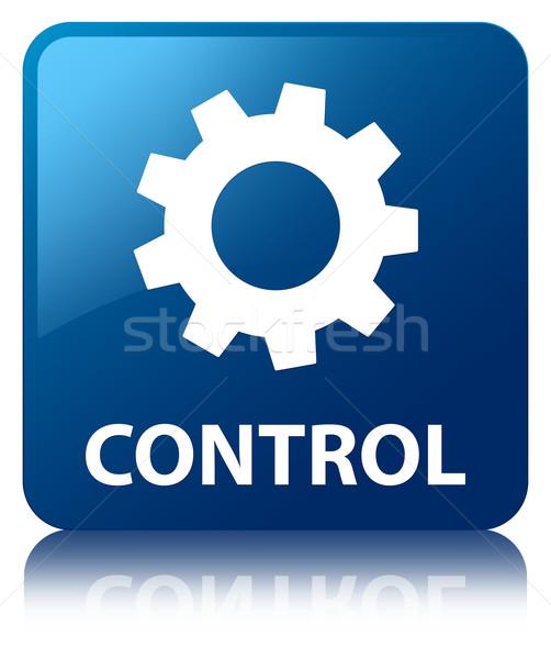 Control (settings icon) glossy blue reflected square button Stock photo © faysalfarhan