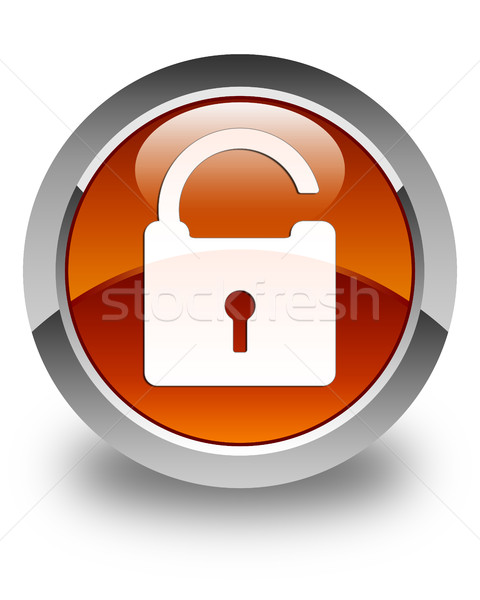 Unlock icon glossy brown round button Stock photo © faysalfarhan