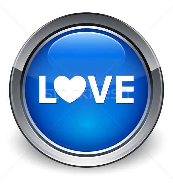 Szeretet fényes kék gomb nem leírás Stock fotó © faysalfarhan