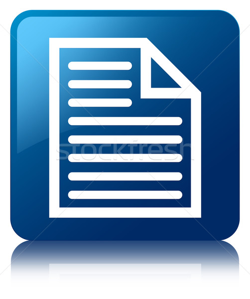 Stock photo: Page icon glossy blue reflected square button