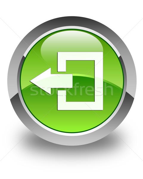 Kijelentkezés ikon fényes zöld gomb felirat Stock fotó © faysalfarhan