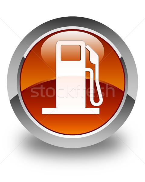 Fuel dispenser icon glossy brown round button Stock photo © faysalfarhan