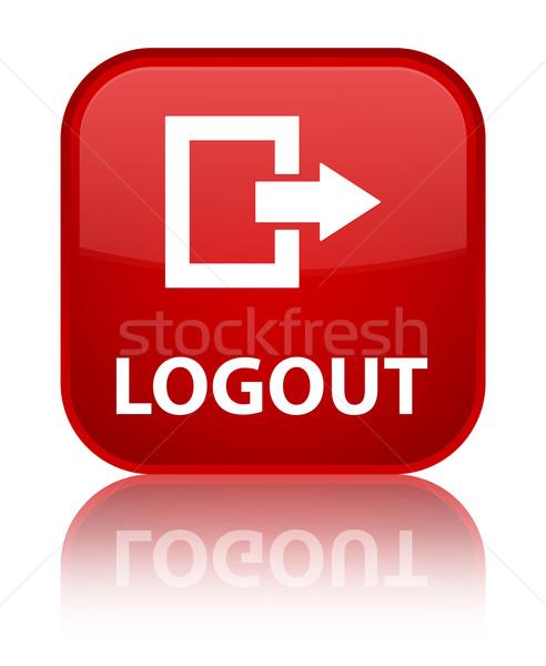 Kijelentkezés fényes piros tér gomb internet Stock fotó © faysalfarhan