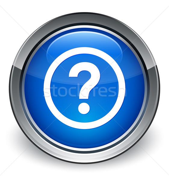 Foto stock: Ponto · de · interrogação · fronteira · ícone · azul · botão