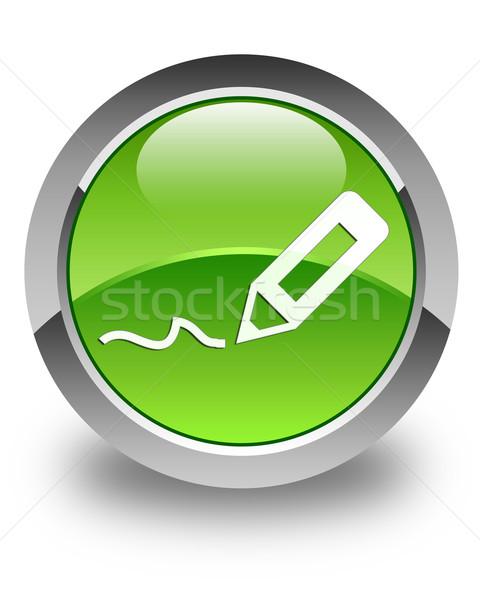 Sign up icon glossy green round button Stock photo © faysalfarhan