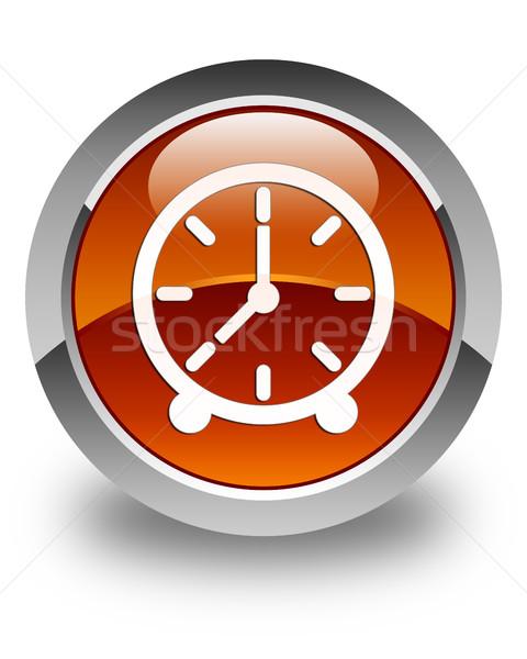 Clock icon glossy brown round button Stock photo © faysalfarhan