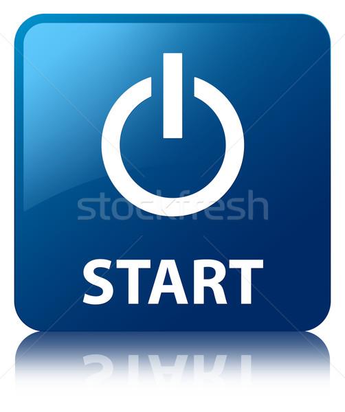Photo stock: Commencer · bleu · carré · bouton · web