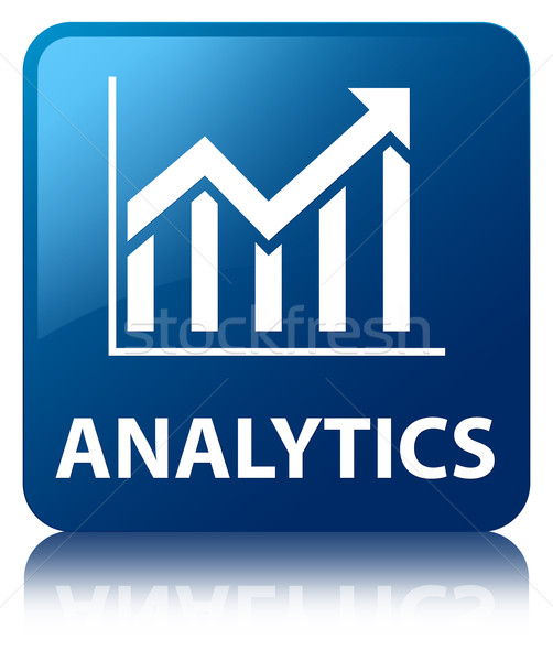 Analytics (statistics icon) glossy blue reflected square button Stock photo © faysalfarhan