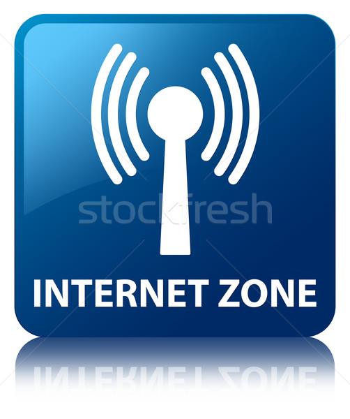 Internet zone (wlan network icon)  glossy blue reflected square  Stock photo © faysalfarhan