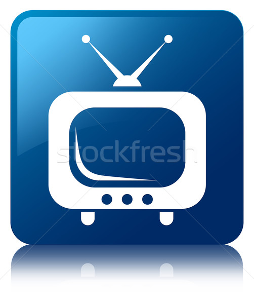 TV icon glossy blue reflected square button Stock photo © faysalfarhan
