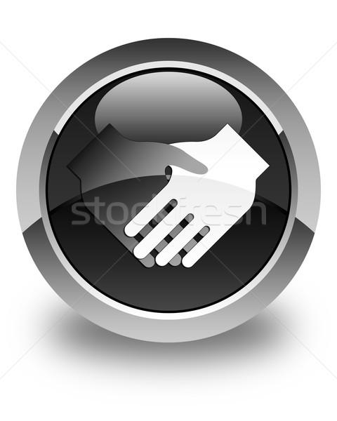 Handshake icon glossy black round button Stock photo © faysalfarhan