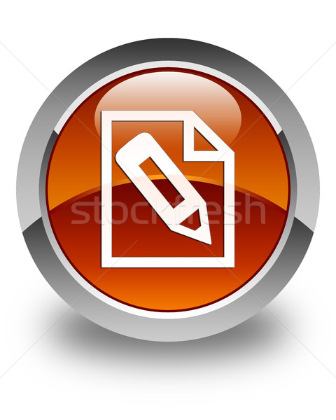 Pencil in page icon glossy brown round button Stock photo © faysalfarhan