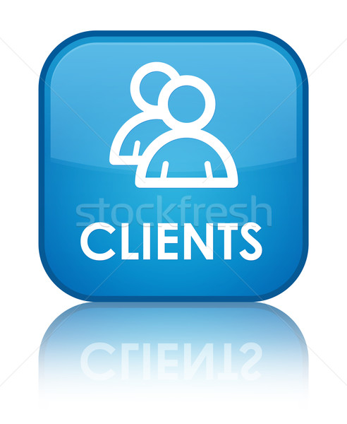 Clients glossy blue reflected square button Stock photo © faysalfarhan