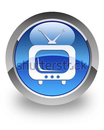 TV icon glossy blue button Stock photo © faysalfarhan