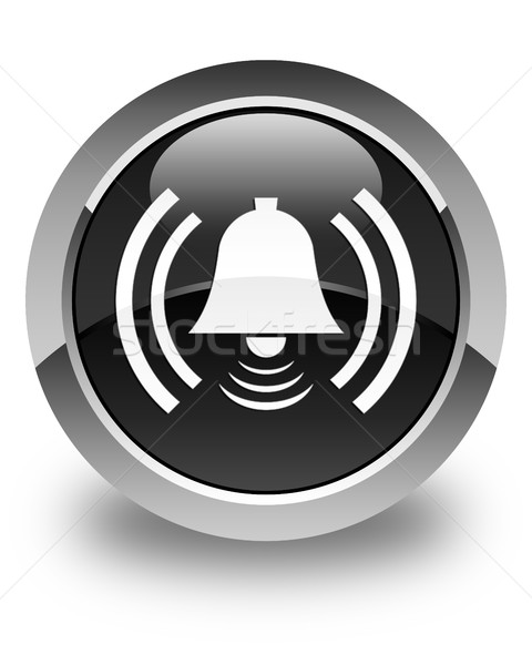 Alarm icon glossy black round button Stock photo © faysalfarhan
