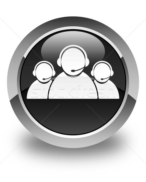 Customer care team icon glossy black round button Stock photo © faysalfarhan