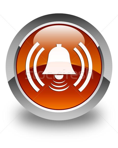Alarm icon glossy brown round button Stock photo © faysalfarhan