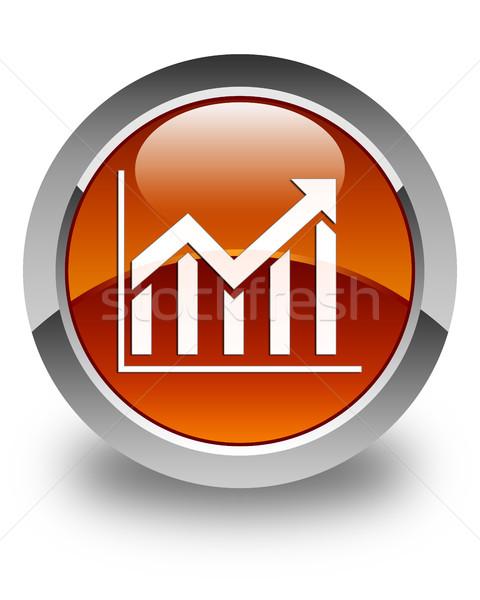 Statistics icon glossy brown round button Stock photo © faysalfarhan