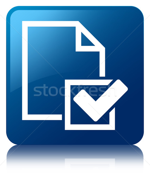 Stock photo: Checklist icon glossy blue reflected square button