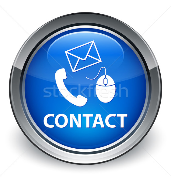 Contact us (mouse, phone and email) icon glossy blue button Stock photo © faysalfarhan