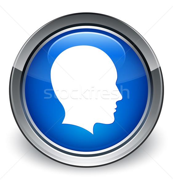 Kafa kadın yüzü ikon parlak mavi düğme Stok fotoğraf © faysalfarhan
