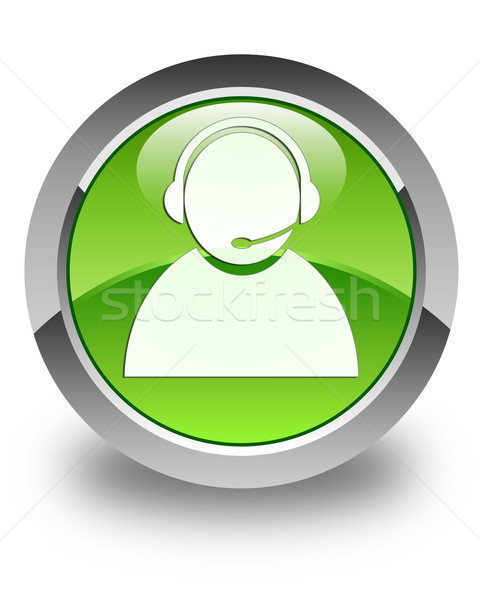 Customer care icon glossy green round button Stock photo © faysalfarhan