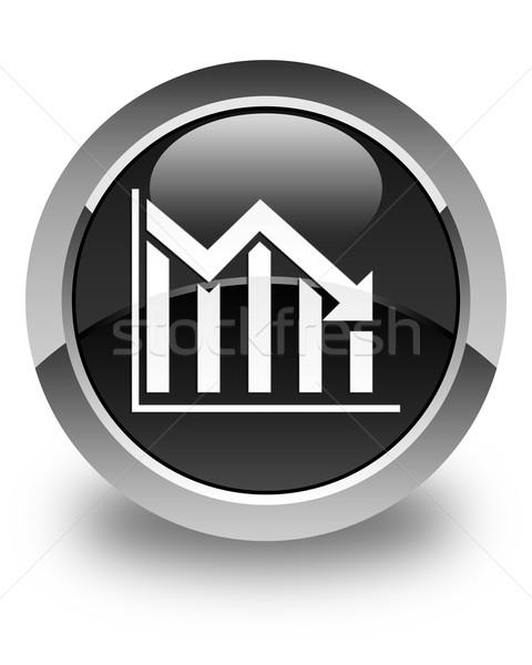 Estadística abajo icono negro botón Foto stock © faysalfarhan