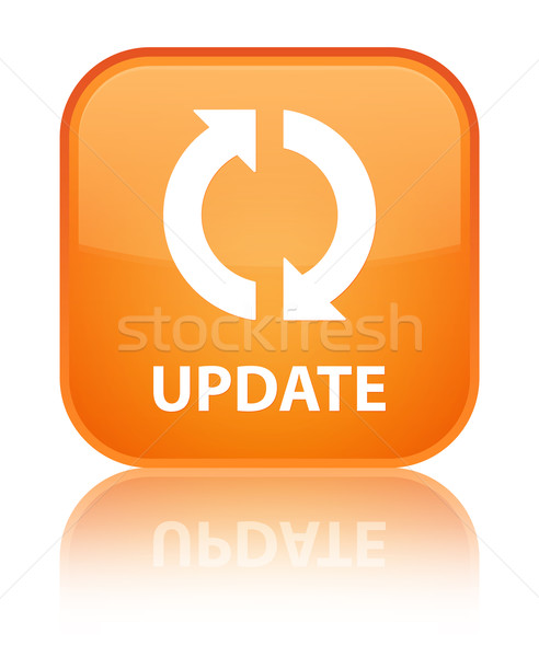 Update glossy orange reflected square button Stock photo © faysalfarhan