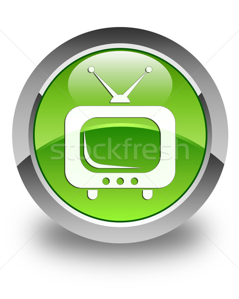 TV icon glossy green round button Stock photo © faysalfarhan