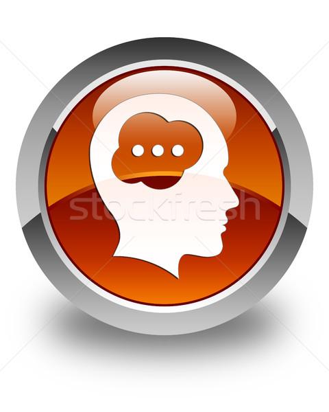 Hersenen hoofd icon glanzend bruin knop Stockfoto © faysalfarhan