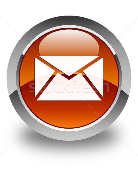 Email icon glossy brown round button Stock photo © faysalfarhan