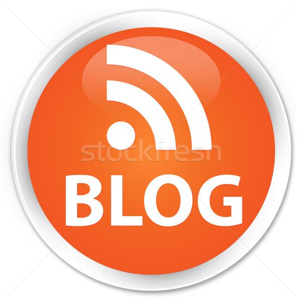 Foto stock: Blog · rss · notícia · ícone · laranja · botão